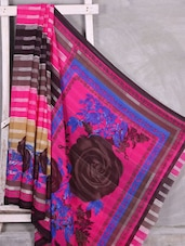 Brown Rose Printed Saree - Komal Sarees