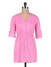 Pink Pleated Cotton Top - By
