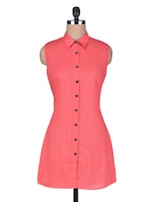 Red Cotton Sleeveless Tunic With Buttons - By