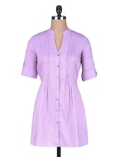 Purple Pleated Cotton Tunic - By