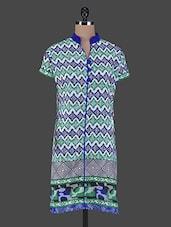 Mandarin Collar Geometric Print Cotton Kurta - Aamii