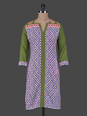 Quarter Sleeves Geometric Print Cotton Kurta - Aamii