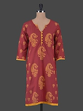 Buttons Embellished Quarter Sleeves Printed Cotton Kurta - Aamii