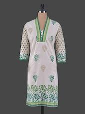 Quarter Sleeves Printed Cotton Kurta - Aamii