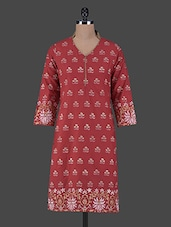 Block Printed Quarter Sleeves Cotton Kurta - Aamii