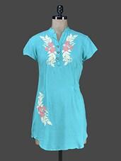 Sky Blue Embroidered Short Rayon Kurti - Paislei