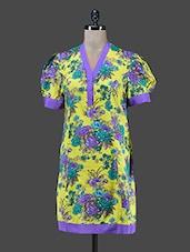 Yellow Floral Printed Cotton Kurta - Paislei