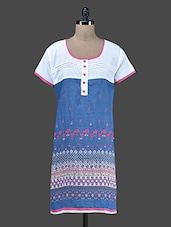 Blue Printed Poly Cotton Kurta - Paislei