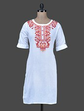 Off White Embroidered Short Cotton Kurta - Paislei
