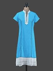 Sky Blue Printed Long Cotton Kurta - Paislei