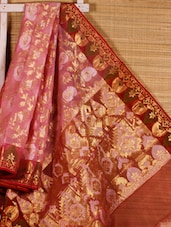 Pink Zari Embroidered Art Silk Saree - Dharitri's Choice