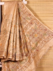 Beige Kantha Stitch Ghicha Saree - Dharitri's Choice