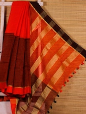 Orange Cotton Silk Handloom Saree - Dharitri's Choice