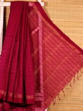 Wine Cotton Silk Handloom Saree - Dharitri's Choice