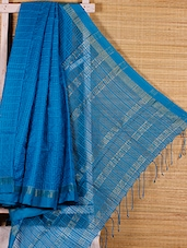 Turquoise Cotton Silk Handloom Saree - Dharitri's Choice