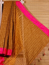 Beige Chequered Cotton Silk Handloom Saree - Dharitri's Choice