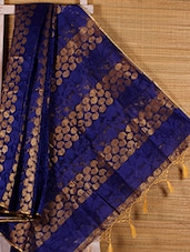 Royal Blue And Gold Paisley Cotton Silk Saree - Dharitri's Choice