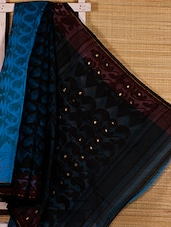 Turquoise And Black Cotton Silk Saree - Dharitri's Choice