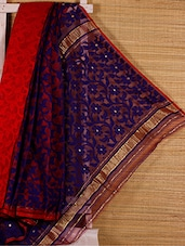 Red And Blue Cotton Silk Saree - Dharitri's Choice