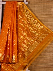 Yellow Floral Cotton Silk Saree - Dharitri's Choice