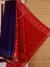 Royal Blue And Red Cotton Silk Saree - Dharitri's Choice