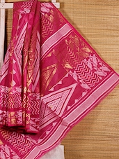 Pink Patterned Cotton Silk Saree - Dharitri's Choice