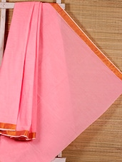 Solid Pink Cotton Saree - Dharitri's Choice
