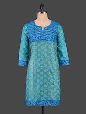 Blue Floral Print Cotton Kurti - Tanvi