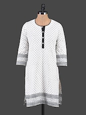 White Printed Button-down Cotton Kurti - Tanvi
