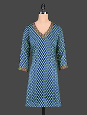 Dark Blue Printed V-neck Cotton Kurti - Tanvi