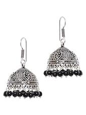 Silver Metal Alloy With Black Beads Jhumkis - Johari Bazaar