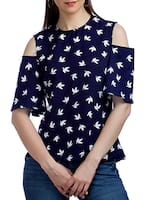blue crepe regular top -  online shopping for Tops