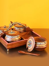 ExclusiveLane Wooden Handpainted Warli Jar Set With Tray - By