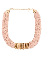 Pink Braided Necklace With Gold Beads - By