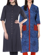 Charcoal Grey And Blue Cotton Kurtas (set Of 2) - By