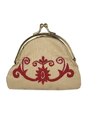 Embroidered Push Tack Beige Silk Coin Pouch - Molcha