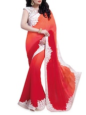 Pink And Orange Georgette Saree - Shonaya