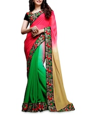 Green And Coral Embroidered Georgette Saree - Shonaya
