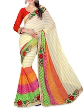 Multicolored Embroidered Georgette Saree - Shonaya