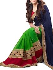 Blue And Green Embroidered Silk Saree - Shonaya