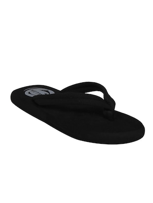 black fabric slip on flip flops