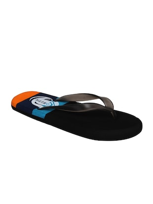 black rubber slip on flip flops