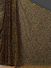 Ethnic Floral Print Sheer Art Silk Saree - Nanda Silk Mills