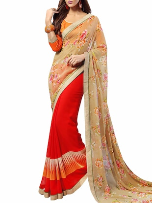 beige & red georgette half & half saree