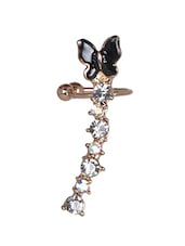 Black Butterfly Crystal Ear Cuff - Fayon