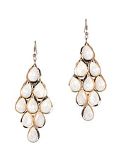 White Acrylic Tear Drop Danglers - Fayon