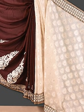 Cream And Brown Embroidered Jacquard Saree - Style Mania