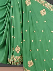 Green Floral Embroidered Crepe Silk Saree - Style Mania
