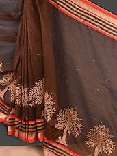 Brown Embroidered Banarasi Net Saree - Style Mania