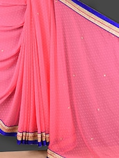 Solid Pink Floral Embroidered Saree - Style Mania